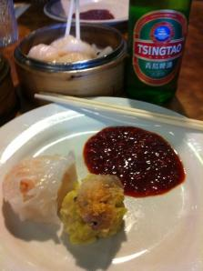 First plate:  pork shumai and chive and shrimp dumpling.  Ample chili sauce.