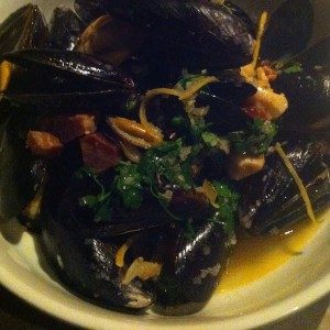 Marche's dry roasted mussels with bacon, wine and perserved lemon.  The moules frites came with fries of course and this was definitely the highlight of our meal.