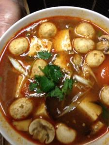 SPICY tom yum soup at the Fish Cake Factory