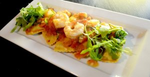 Our 2nd shared entree was the Ravioli alla Filly, described as lobster & crab stuffed ravioli served with a fresh tomato sauce, sauted tiger prawns & arugula.  Ravioli was too firm in my opinion.
