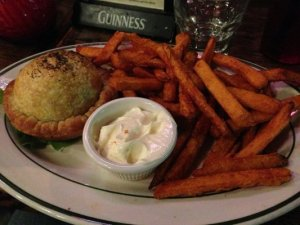 Steak and mushroom pie with some awesome sweet potato fries!!! @Pies and Pints