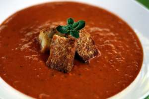 Best tomato soup ever.  The gin-infused roasted tomato soup with fennel cream.  YUM!