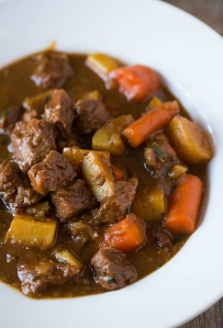 Guinness beef stew was thick and hearty.  I love parsnips and turnips!!