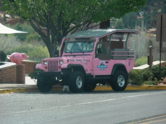 Pink Jeeps for tours everywhere in Sedona.