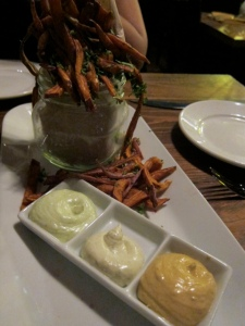 Yam fries with a trio of dips.  Good but I've had better (crispier).
