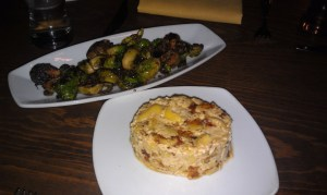 Maple roasted brussel sprouts with smoked tofu (tasted like bacon) and mac and yeaze.