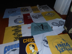 T-shirts ironed to fusible, cut to size and layed out.