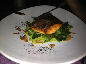 GRILLED CENTRALIA ARCTIC CHAR with Sauteed Asparagus, Marcona Almonds and Cauliflower Puree