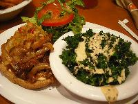 Veggie Grill Chipotle BBQ sandwich again with a side of their sesame kale.