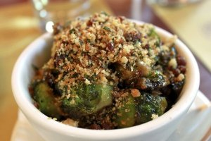 Great sauteed brussel sprouts with bread crumbs and parmasan.