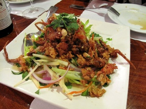 Soft shell crab salad...by far my favorite dish!!  Loved the dressing.