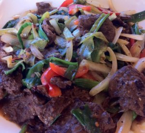 "Mongolian Wonder:  ""beef"", peppers, onions, and carrots in a great spicy sauce."