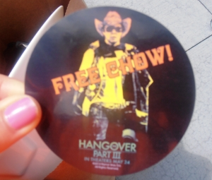 Free chow!  For Hangover III movie?!?