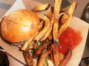 Very delicious slider with their coined bacon jam, arugula, and brie/blue cheese on a mini brioche.  But oh baby those fries.  So crispy and flavorful (sage!).  Handing these out fast too!!
