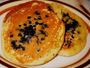 Short stack of blueberry pancakes at the Lucky Diner for dinner!