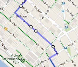 Next I I might dip over to 3rd Ave, only briefly and only if I really want to pick up McDonald's new egg white sandwich for $1 on my ride in, which I have done twice this week.  I bring my bike into McD's with me because 3rd and Pine is just sketchy any time of the day.