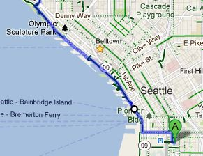 A great refreshing ride home after work has most of the trip riding on the Elliot Bay Trail that follows the waterfront, strolls through the Olympic Sculpture Park, and taking in the sights of the Sound and the Olympic Mountains in the distance.