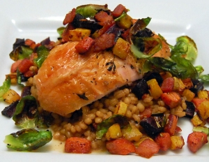 Best chicken I've had in a while from a restaurant.  Loved the vegetables on top.  Barley risotto underneath.