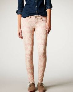 Patterned pink jeggings.  I hope I like these.