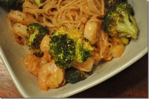 Spicy citrus shrimp with pasta and broccoli.