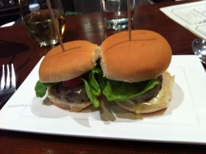 Ordered several regular sliders and pulled pork sliders for the table.