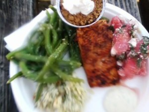Blurry but delicious plate of all of the above.  All eaten!
