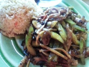 Pork in hot garlic sauce with pork fried rice