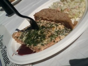 Alder smoked salmon dinner with Great Harvest bread and coleslaw with Mikayla at the Ballard Seafood Fest.
