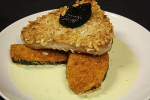 Reconfigured sushi:  rice-coated ahi tuna fried to quickly sear it and puff the rice to create a crunchy coating, fried and creamy panko-breaded eggplant, nori jam, and the silkiest wasabi aioli to bring everything together.  So yum!!!