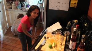 Tina preparing Brittany's exotic drink in her absence.