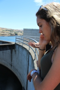 Watching the fish in the fish ladder.