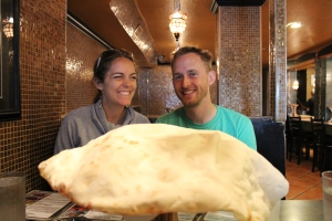 So excited with this amazingly large pita bread.