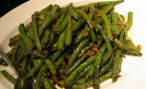 Simple green beans sauteed in garlic and shallots.