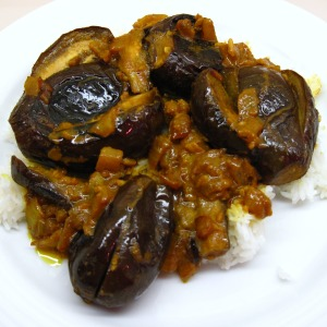 Curried eggplant and rice