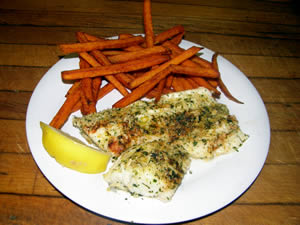 Broiled walleye (had to) and sweet potato fries + salad with huckleberry dressing at Pepper Jack Bar and Grill.