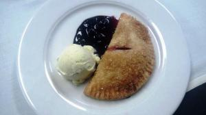 Guest Chef Night dessert was a nectarine hand pie with blueberry sauce and homemade cardamom ice cream.