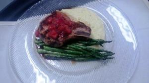 Guest Chef Night regular entree was a cider braised pork chop with a pickled stone fruit compote, creamy cheddar polenta, and grilled asparagus.
