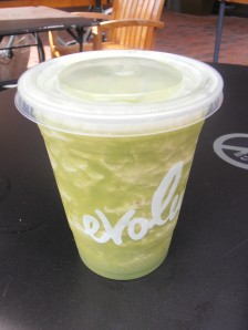 Free Evoltion Fresh Green Smoothie = green juice, coconut water, banana, and pineapple