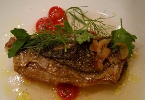 Butterfish with tomatoes and eggplant puree.