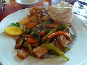Tofu scramble with home fries and a great biscuit at Both Ways Cafe.