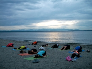 Yoga at Golden Gardens with Tina and Polly and others.