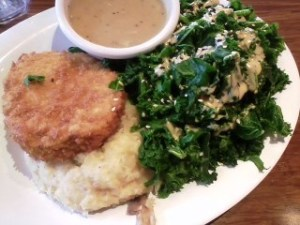 Veggie Grill crispy chikin platter with steamed kale and potato cauliflower mash.