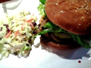 The chipotle BBQ sandwich with their new currant creamy coleslaw side.