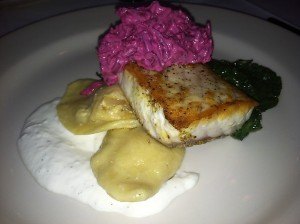 Bryan's local sturgeon with squash ravioli.