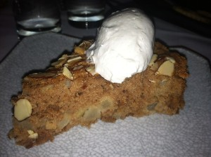 Pear almond cake with creme.