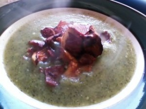 Creamy zucchini soup (no cream) topped with turkey bacon and sauteed chanterelles.