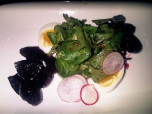 Beets and watercress.