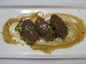 OMG...braised pork cheeks so tender over a parsnip puree with bacon brussel sprouts.