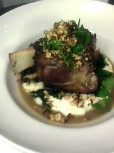 Braised Blackfoot Hog Shank, McEwen & Sons Grits, Turnip Top with Fish Sauce & Chili, Peanut-Lime Gremolata
