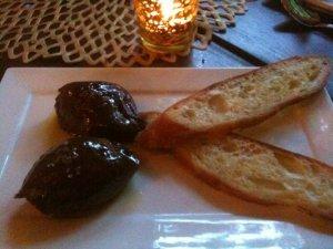 Spanish-style chocolate mousse with olive oil, sea salt & crostoni